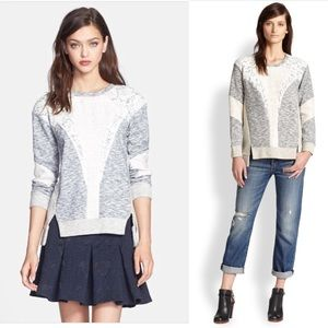 Rebecca Taylor Lace and Metallic Sweater